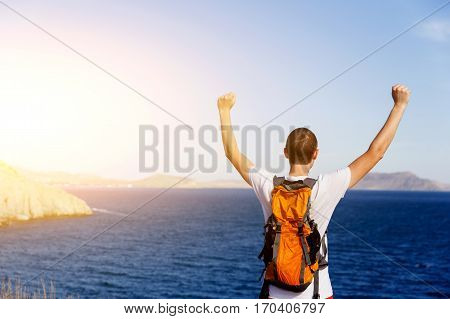 Photography of young guy on background of sea in daytime