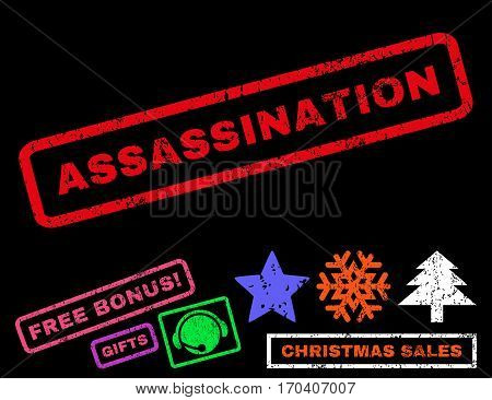Assassination text rubber seal stamp watermark with additional bonus new year symbols. Caption inside rectangular shape with grunge design and scratched texture.