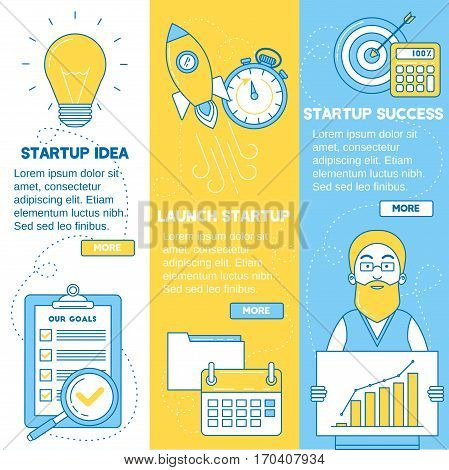 Startup banners. Business idea launching startup and getting profit. Line design.