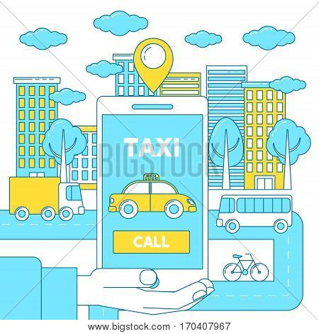 Taxi app illustration. Order taxi via application and see its rout on the screen.