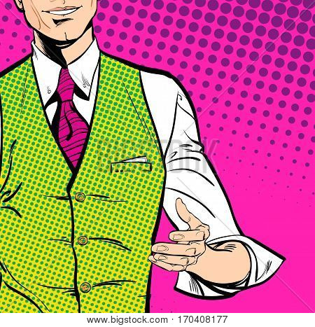 Speaking man. The man at the podium speaks. Handsome young businessman holding up his hand and giving advice. Attractive manager speaking. Concept idea of advertisement and promo. Halftone background.