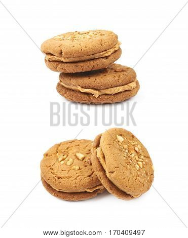 Two peanut butter homemade cookies isolated over the white background, set of two different foreshortenings