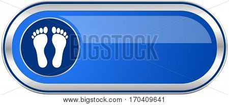 Foot long blue web and mobile apps banner isolated on white background.