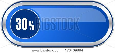 30 percent long blue web and mobile apps banner isolated on white background.