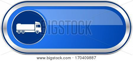 Truck long blue web and mobile apps banner isolated on white background.
