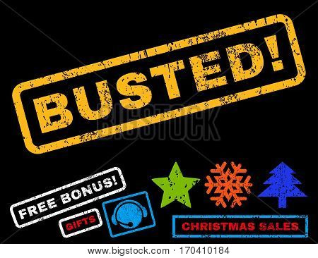 Busted exclamation text rubber seal stamp watermark with bonus new year symbols. Tag inside rectangular banner with grunge design and dirty texture.