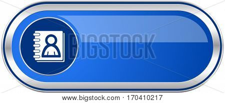 Address book long blue web and mobile apps banner isolated on white background.
