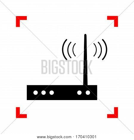 Wifi modem sign. Black icon in focus corners on white background. Isolated.