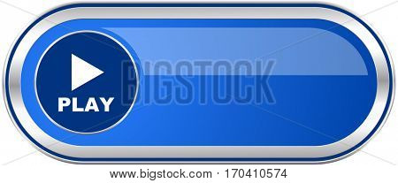 Play long blue web and mobile apps banner isolated on white background.