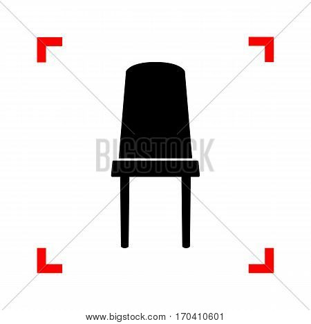 Office chair sign. Black icon in focus corners on white background. Isolated.