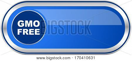 Gmo free long blue web and mobile apps banner isolated on white background.