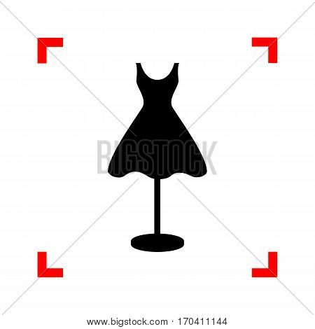 Mannequin with dress sign. Black icon in focus corners on white background. Isolated.