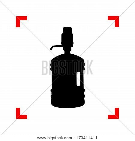 Plastic bottle silhouette with water and siphon. Black icon in focus corners on white background. Isolated.