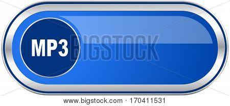 Mp3 long blue web and mobile apps banner isolated on white background.