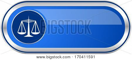 Justice long blue web and mobile apps banner isolated on white background.