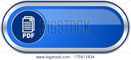 Pdf long blue web and mobile apps banner isolated on white background.,