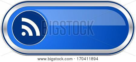 Rss long blue web and mobile apps banner isolated on white background.