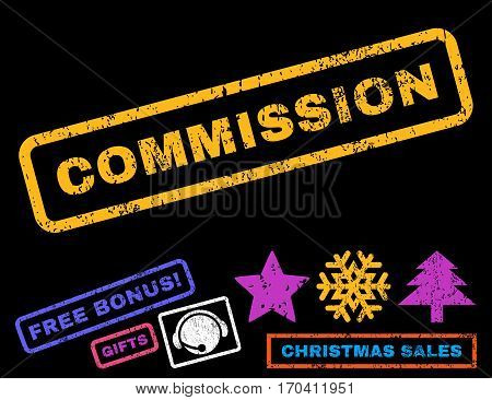 Commission text rubber seal stamp watermark with bonus christmas symbols. Caption inside rectangular shape with grunge design and scratched texture.