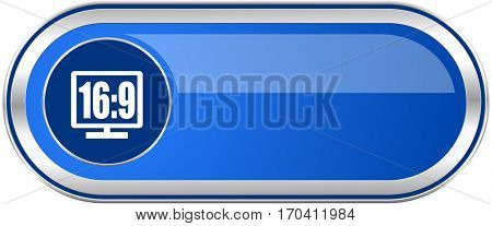 16 9 display long blue web and mobile apps banner isolated on white background.
