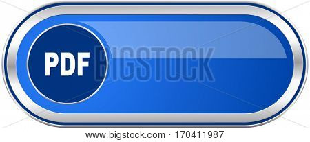 Pdf long blue web and mobile apps banner isolated on white background.
