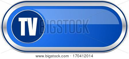 Tv long blue web and mobile apps banner isolated on white background.