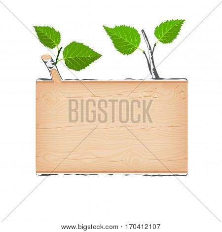 Natural textured birch wooden rectangular signboard with green leaves vector illustration