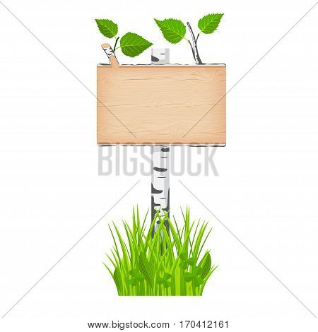 Birch wooden rectangular signboard with green leaves on a pole at the grass lawn vector illustration