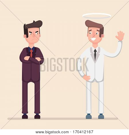 Angel and devil. Vector flat cartoon illustration. Flat. Vector