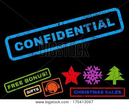 Confidential text rubber seal stamp watermark with additional bonus christmas symbols. Tag inside rectangular shape with grunge design and dirty texture.