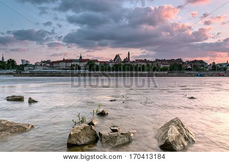 View of the old city of Warsaw from the river