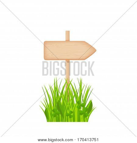 Wooden arrow signboard with knots and cracks on a pole at the grass lawn vector illustration