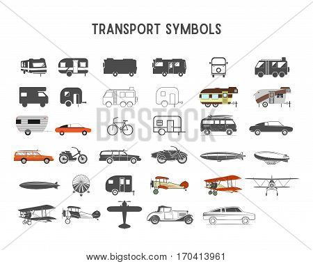Transport vector shapes and elements for creation your own outdoor labels, wilderness retro patches, adventure vintage badges, hiking stamps. Rv trailers, planes, biplanes, airships.