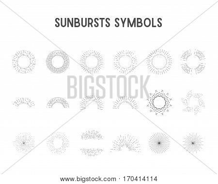 Set of vintage sunbursts, star lights. sillhouette, lineart design Vector