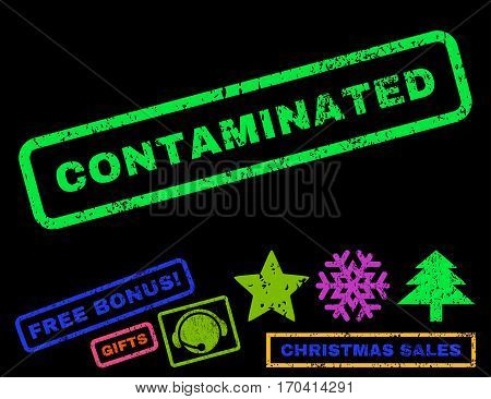 Contaminated text rubber seal stamp watermark with additional bonus christmas symbols. Tag inside rectangular shape with grunge design and unclean texture.