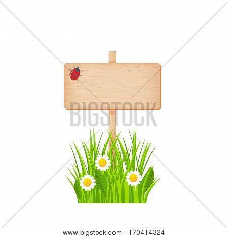 Wooden rectangular signboard with knots and cracks on a pole at the grass lawn with flowers and ladybug vector illustration