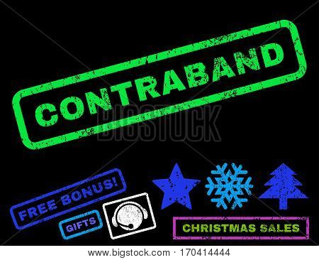 Contraband text rubber seal stamp watermark with additional bonus new year symbols. Tag inside rectangular shape with grunge design and unclean texture.