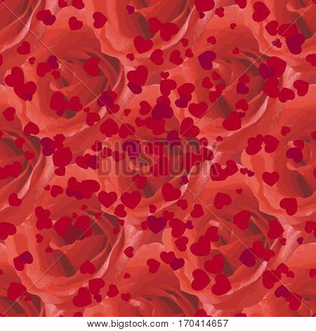 seamless pattern with red roses and hearts. design for packaging, wallpaper, fabric, textile, covers, wedding and invitation card, valentine day, womens day.