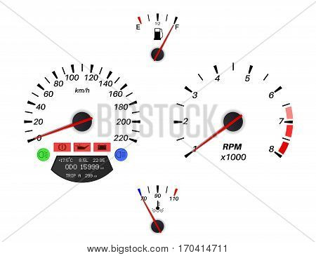 Car dashboard signs. Speedometer, tachometer, fuel and temperature gauge. Vector illustration isolated on white background