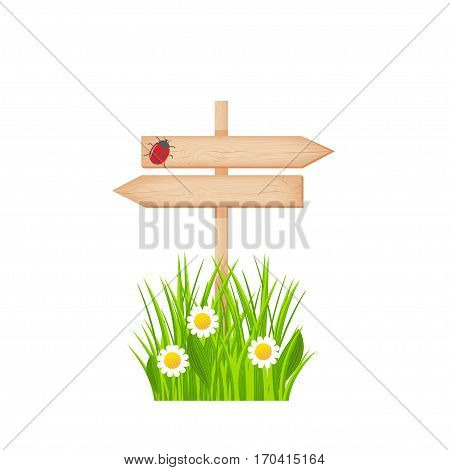 Wooden two arrows signboard with knots and cracks on a pole at the grass lawn with flowers and ladybug vector illustration