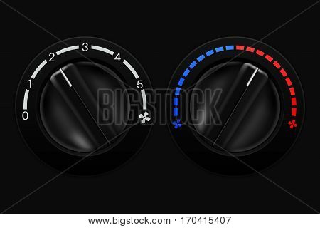 Air conditioning black selectors. Vector illustration on black background