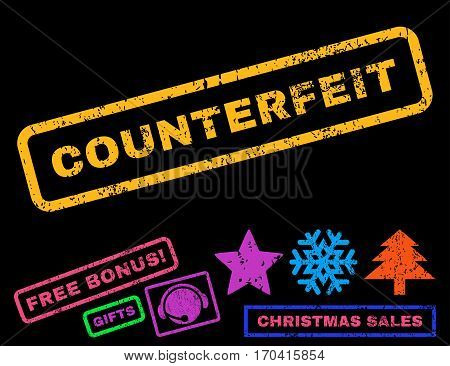 Counterfeit text rubber seal stamp watermark with bonus christmas symbols. Caption inside rectangular banner with grunge design and scratched texture.