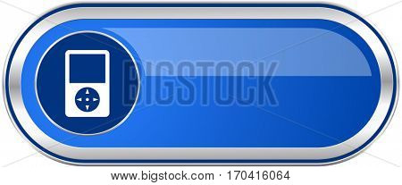 Multimedia player long blue web and mobile apps banner isolated on white background.