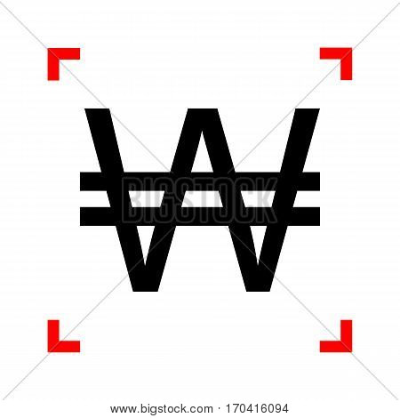 Won sign. Black icon in focus corners on white background. Isolated.