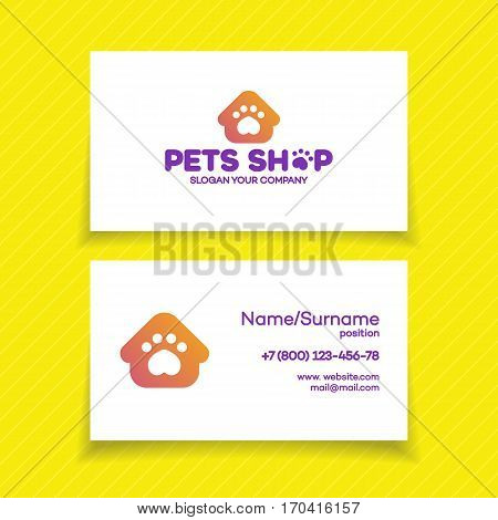 Business card with pets shop logo for used for corporate identity pets home, store, animals veterinary clinic and homeless animals shelters. Vector Illustration