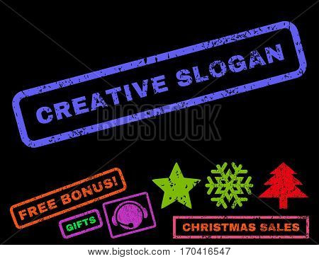 Creative Slogan text rubber seal stamp watermark with additional bonus new year symbols. Caption inside rectangular banner with grunge design and unclean texture.