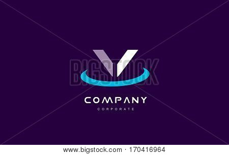 v cyan magenta blue letter alphabet vector company logo icon sign design template