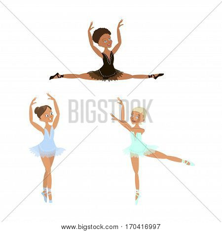 Cute little ballerinas set. Character of Ballet girl. Isolated Vector illustration eps 10