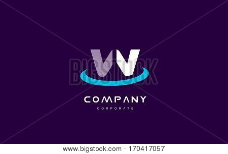 w cyan magenta blue letter alphabet vector company logo icon sign design template