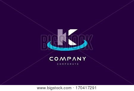 k cyan magenta blue letter alphabet vector company logo icon sign design template