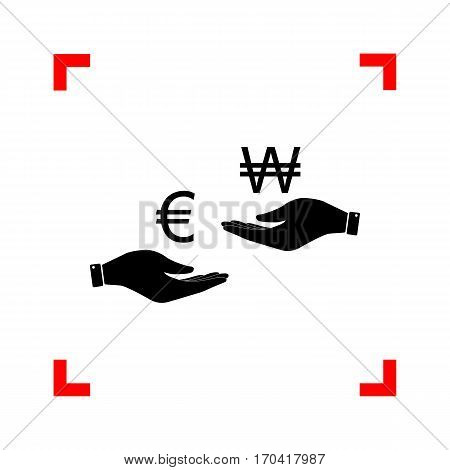 Currency exchange from hand to hand. Euro and Won. Black icon in focus corners on white background. Isolated.